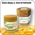 Рекламная продукция в виде меда в банке из сот с логотипом