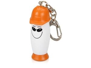 Брелок-фонарик с ручкой в виде человечка в каске, белый/оранжевый