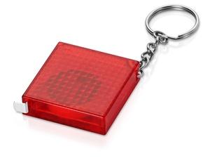 Брелок-рулетка из светоотражающего материала, 1 м., красный/серебристый