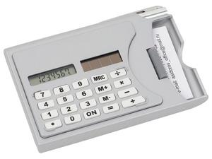 Визитница Бухгалтер с калькулятором и ручкой, серый