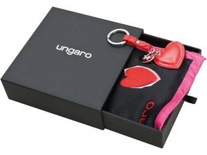 Набор Ungaro: брелок Сердце, платок шелковый, черный/красный