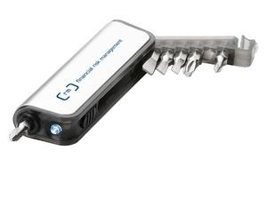 Мини-набор инструментов с фонариком, отвертка с 6 насадками