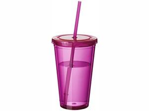Термостакан с соломинкой Cyclone, розовый