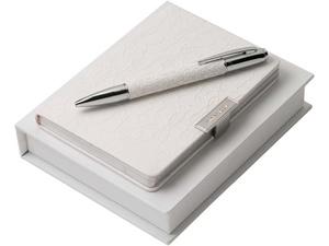 Набор Michelle: дизайнерский блокнот А6, шариковая ручка, белый/серебристый