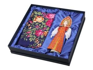 Набор Марфа: кукла в народном костюме, платок, синий