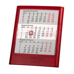 Календарь настольный на 2 года ; прозрачно-красный; 12,5х16 см; пластик; тампопечать, шелкография
