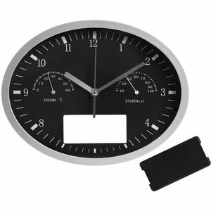 Часы настенные INSERT3 с термометром и гигрометром, черные