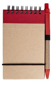 Блокнот на кольцах Eco Note с ручкой, красный