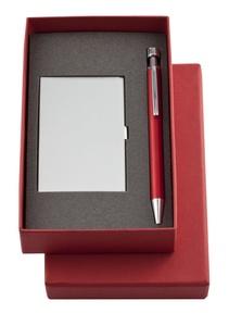 Набор Join: футляр для визиток и шариковая ручка, красный