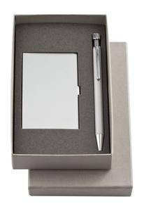 Набор Join: футляр для визиток и шариковая ручка, серебристый