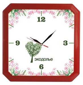 Часы настенные «Квадро», красные